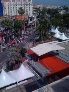 The Official Selection red carpet as seen from the top of the Palais on the Festival Terrace